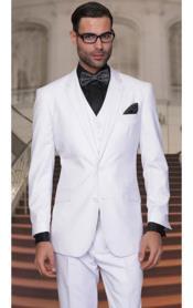 SKU*PN18 Blanco Muesca Collar Regular Ajuste Establecido Traje