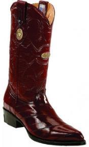 SKU*RM1226 Borgoña Recorte Dedo del pie Auténtico Anguila Piel Botas