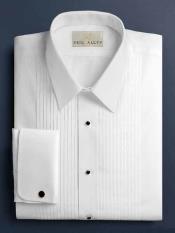 SKU*HA1289 Dalby Sólido Plisado ACUESTATE Blanco Smoking Camisa Con Pliegues