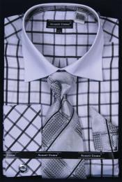 SKU*HA635 de los hombres francés Bofetada Vestir Camisa Conjunto-Ventana & Blanco