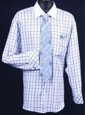SKU*HA636 Francés Bofetada Vestir Camisa Conjunto - Real Tartán Ventana