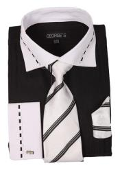 SKU*AA410 Negro Con Blanco Collar Francés Bofetada Vestir Camisa