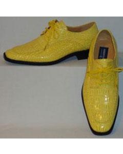 Amarillo Croc Grabado En