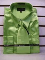 SKU * HS723 hombres La camisa Nuevo Apple vestido de satén verde corbata Combo Camisas