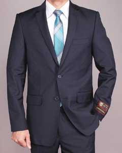 SKU*TS9942 Pleito Delgado adecuado de 2 botones Azul Marino Masculino