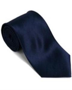 SKU*KH333 Corbata Sólida de Seda del 100 % Azul marina con Pañuelo