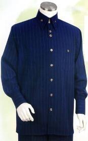 Azul Largo Manga Camisa