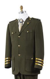 SKU*MK528 Aceituna Canto Militar Estilo Bolsillo Traje