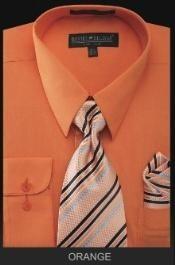 SKU*OR4343 Camisa de Etiqueta Masculina - Lazo Superior - Naranja