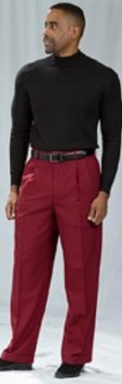 SKU*HA2636 Pacelli borgoña Plisado Holgado Ajuste Vestir Pantalones
