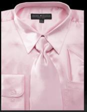 SKU*HA2898 Rosado Brillante Satín Largo Manga Vestir Camisa Con Corbata Conjunto