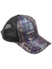 SKU*HA2083 Púrpura/Negro Auténtico Avestruz Caimán Exótico Piel Béisbol Gorra