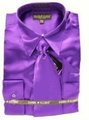 SKU * EJ818 Camisa de vestir Nuevo satén púrpura corbata Combo camisas de los hombres de