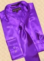 SKU * TH238 Camisa vestido satén púrpura corbata Hanky Set