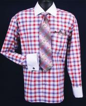 SKU*TR382 Púrpura Dos Tono Contraste Tartán Blanco Collar Francés Bofetada Camisa