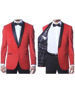SKU*PN36 Rojo Terciopelo con Negro Chal Collar Cena Chaqueta
