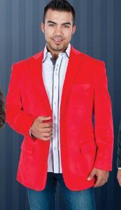 SKU*YT6367 Hombres Rojo Terciopelo Chaqueta de Sport