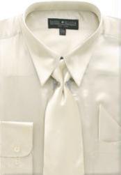 SKU * FA761 Hombres camiseta beige brillante vestido de raso de seda / lazo