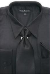 SKU * MA171 Hombres camiseta Negro Brillante vestido de raso de seda / lazo
