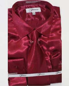 lujoso brillante borgoña camisa
