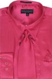 SKU * AL421 Hombres camiseta Fuschia brillante vestido de raso de seda / lazo