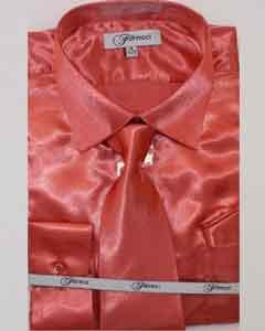 Fer_SH1 Hombres lujoso brillante Coral camisa