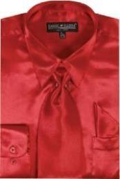 SKU * LO712 Hombres camiseta roja brillante vestido de satén de seda / lazo