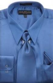 SKU * HA452 Hombres camiseta azul real brillante vestido de raso de seda / lazo