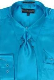 SKU * KK123 Hombres camiseta turquesa brillante vestido de raso de seda / lazo