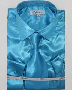 lujoso brillante turquesa camisa