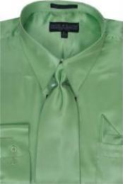 SKU * KA347 Hombres camiseta verde manzana brillante vestido de raso de seda / lazo