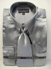 SKU * PL222 Camisa de vestir de Nueva Silver Satin Tie Combo camisas hombres de