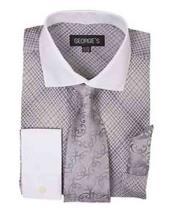 SKU*HA1705 francés Bofetada Cheques Blanco Collar Plata Vestir Camisa Con Corbata Y Pañuelo