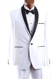 SKU*WHT666 1 Botón blanco 3 pieza ajustado establecido esmoquin