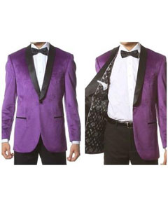 SKU*PN30 Púrpura Terciopelo con Negro Chal Collar Cena Chaqueta