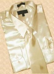 SKU * GN993 Camisa satinado vestido Tan Tie Hanky Set
