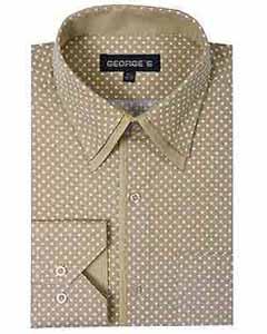 SKU*SD395 Clásico Ajuste Polca Punto Doble Collar Broncearse Vestir Camisa