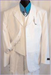 SKU*XFO465 3 Botón Blanco Muesca Collar Ligero Peso Suave Tela Establecido Trajes