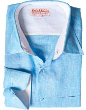 Turquesa Lino Vestir Camisa