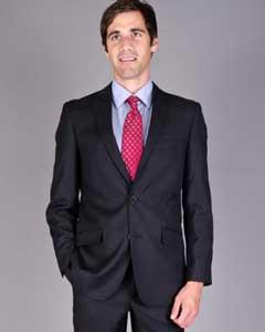SKU*HA1197 De los hombres 2 botón tonal Delgado ajuste sólido negro traje