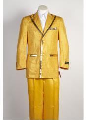 SKU*HA1581 Canto Hombre 2 Botón de color oro brillante traje con pantalón