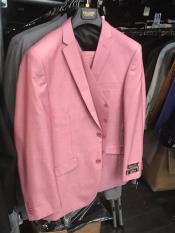 SKU*GD148  Traje con chaleco con bolsillos delanteros con solapa rosa para hombre