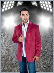SKU*TH5C Borgoña terciopelo 2 Botón chaqueta deportiva