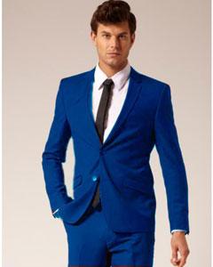SKU*RYB902 Real azul 2 Botón muesca collar chaqueta y pantalón