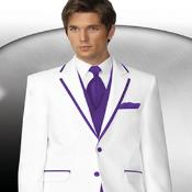 Púrpura Recortar Collar Esmoquin