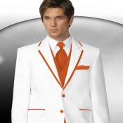 Naranja Recortar Collar Esmoquin