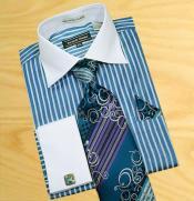 SKU*HA362 Azulado- Verde y Blanco Rayas Tejido Algodón Camisa con Pañuelo