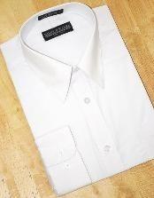 SKU*HK650 Blanco Algodón Mezcla Convertible Puños Vestir Camisa