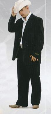 Negro Raya Occidental Traje con Pantalón